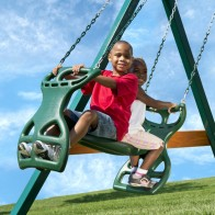 Swing set gliders with room for two kids - back to back.