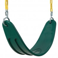 Soft plastic swing seat features coated chains for pinch-free grip during play.