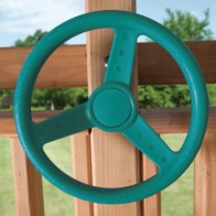 Green steering wheel for swing sets adds a splash of imagination
