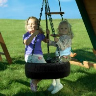 Large tire swing with 360 degrees of swiveling motion