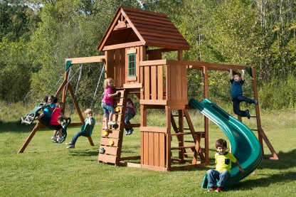 Image for With 3 swings, monkey bars, slide & more, your child will have hours of fun!