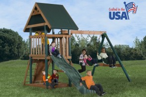 The Mongoose Manor features 3 belt swings, sandbox and a 8 ft. slide.