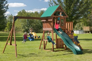Features two play desks, a sandbox, picnic table & more.