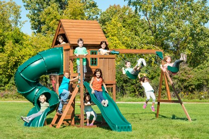 Image for This extravagant swing set includes children's favorite play activities.