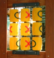 Outdoor Tic tac toe game board for imaginative play with friends