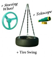 Tire swing kit with steering wheel and telescope in one!